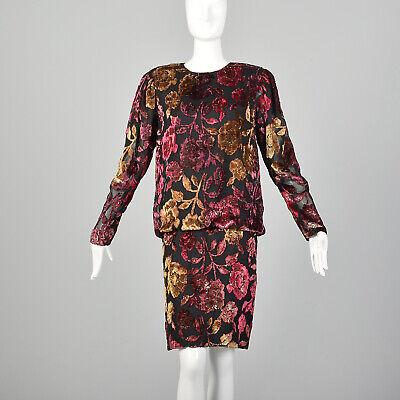 80s Dresses | Casual to Party Dresses M 1980s Black Dress Cocktail Party Dress Long Sleeve Burnout Velvet Rose 80s VTG $153.00 AT vintagedancer.com