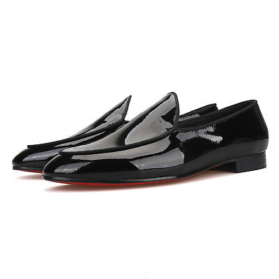 Merlutti Plain Black Patent Leather Wedding Tuxedo Belgian Loafer