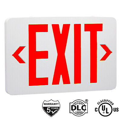 Red Led Emergency Exit Light Sign Ac 120v277v Led Lamp Abs Fire Resistance Ul
