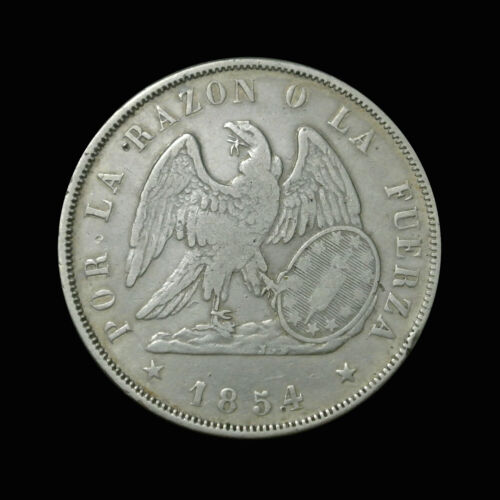 1854-So Chile Silver Peso - Condor - Early Type - RARE