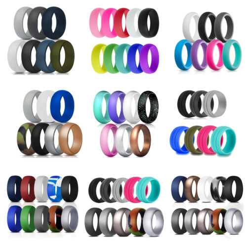 Men/women Silicone Wedding Band Set Engagement Ring Outdoor Sport Ring Jewelry