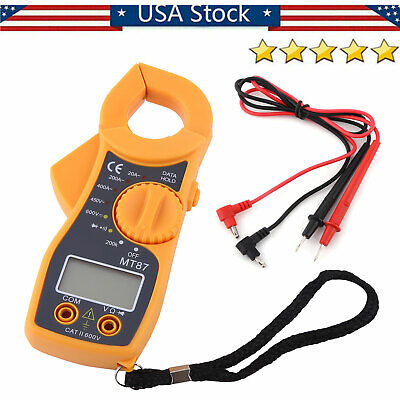 Lcd Digital Clamp Meter Multimeter Acdc Voltmeter Ohm Amp Volt Auto Tester 600a