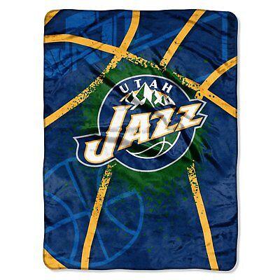 Utah Jazz NBA Shadow Play Raschel Royal Plush 60x80 Twin Size Throw/Blanket
