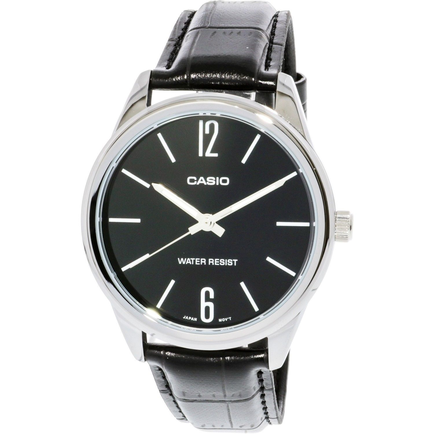 a334068d8fda NEW Casio MTP-V005L-1B Men s Analog Watch BLACK Leather Band Black Dial WR