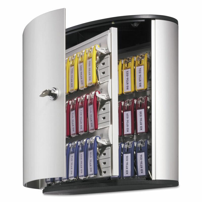 Durable Locking Key Cabinet 36-Key Brushed Aluminum Silver 11 3/4 x 4 5/8 x 11