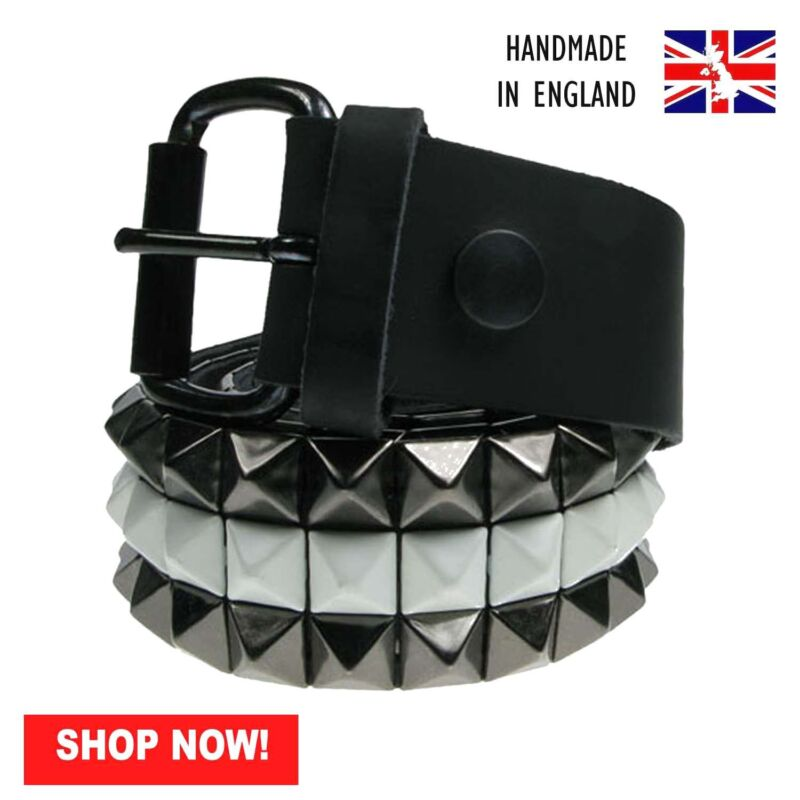 38mm Black /& White Pyramid 100/% Real Leather Made In UK Press Stud Belt B183