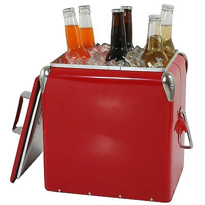 Vintage Picnic Cooler Camping Retro Style Beverage Storage Food Meet Cold Ice