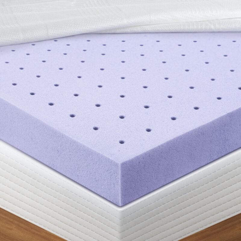 Mattress Topper Memory Foam  Lavender CertiPUR-US Certified Foam Pads Queen size
