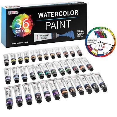 Professional 36 Color Art Watercolor Paint Set, 18ml Tubes Craft Artist Painting