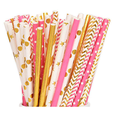 50 Pink and Gold Paper Straws, Pink Straws, Gold Straws, Princess Party (Princess Straw)