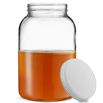1-Gallon Glass Jar Wide Mouth with Airtight Metal Lid - USDA Approved BPA-Free