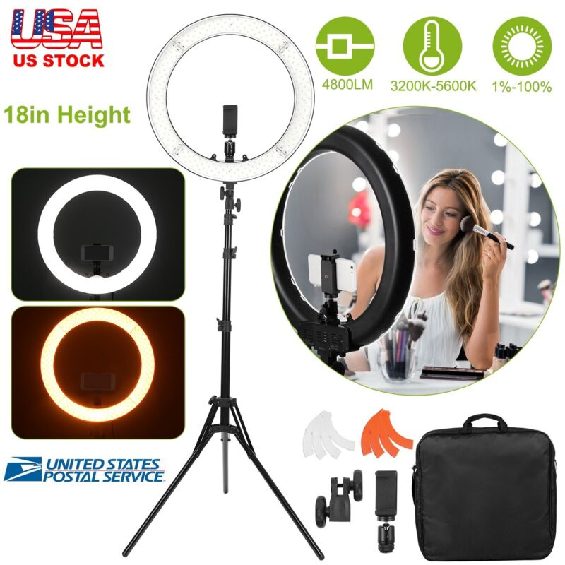 "18"" inch Outer LED Ring Light Kit 55W Dimmable 3200K-5600K w/ Tripod Stand & Bag"