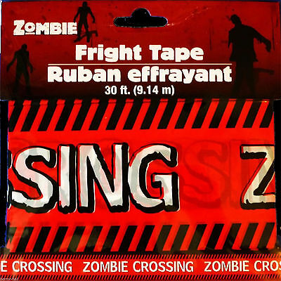 Funny ZOMBIE CROSSING Fright Caution Warning Tape Halloween Prop Decoration-30ft](Funny Halloween Yard Decorations)