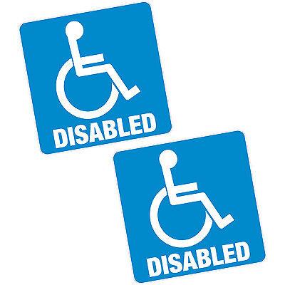 "2 x Disabled Blue Badge 4"" 100mm Sq. Vinyl Sticker Car Van Home Motability Decal"