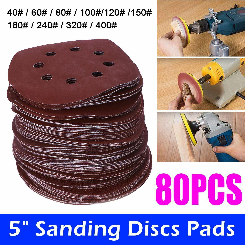 "80Pcs 125mm 5/"" Sanding Discs Pads Mix Orbital Sander Hook Loop Sandpaper UK New"