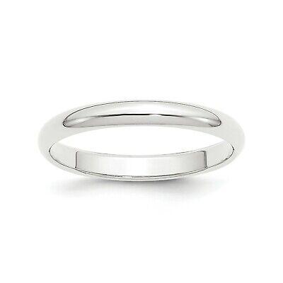 Platinum 3mm Half-Round Wedding Band. 3mm Half Round Wedding Band