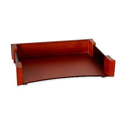 Rolodex Wood And Faux Leather Letter Tray Letter-size Mahogany And Black