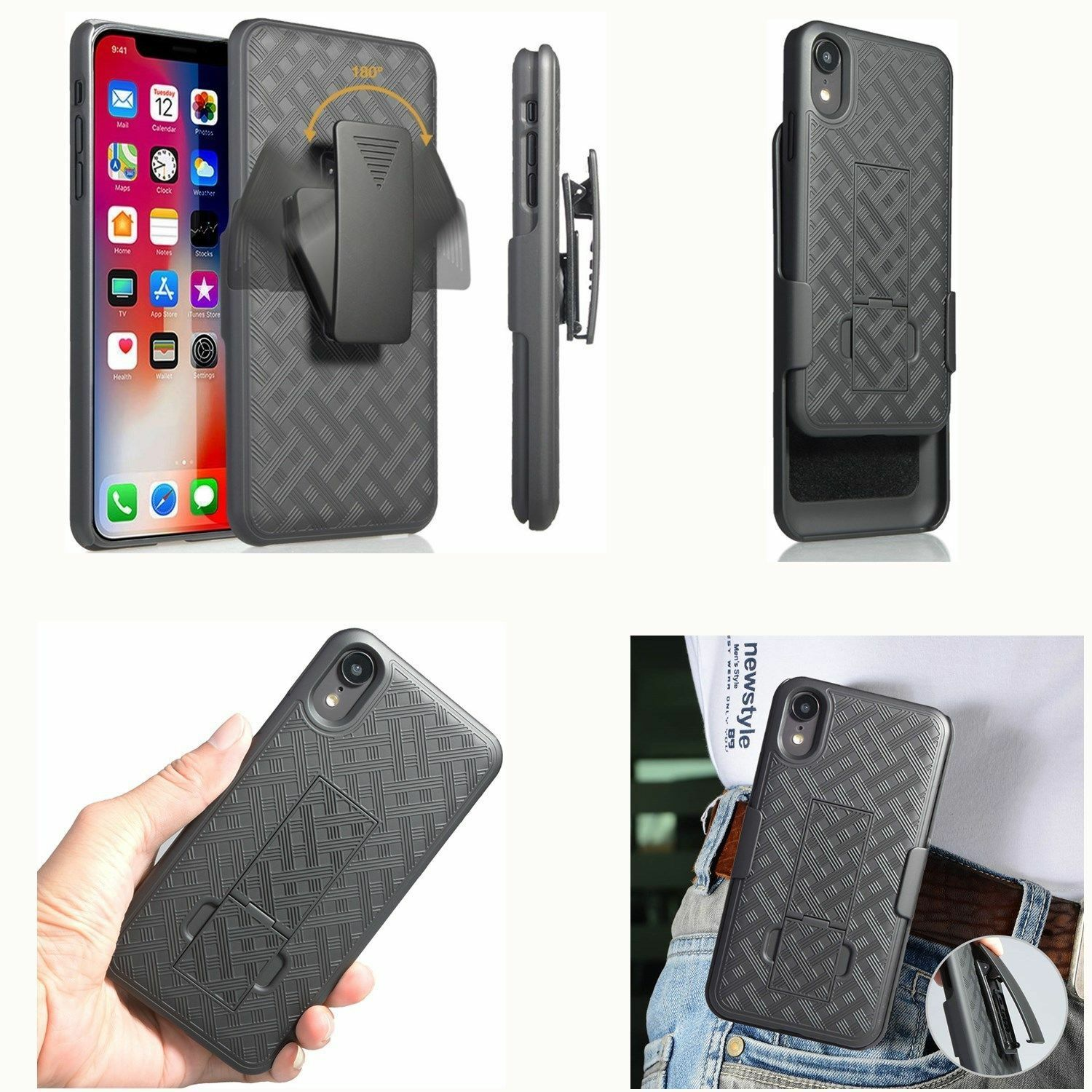 pretty nice 6b312 753fb Details about Heavy Duty Swivel Belt Clip Holster Armor Case Cover For  Apple iPhone XR XS Max