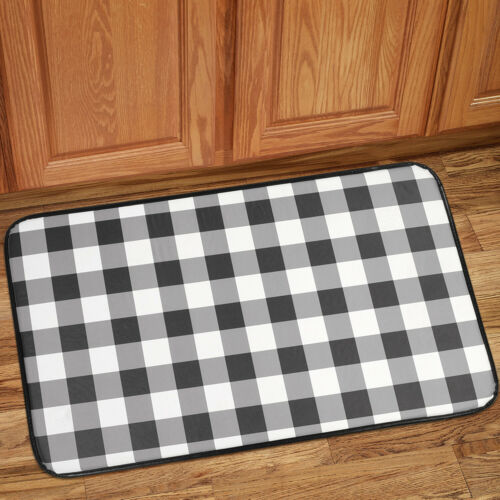 Buffalo Check Printed Anti-Fatigue Kitchen Floor Rug Mat 18″ x 30″ Black/White Door Mats & Floor Mats