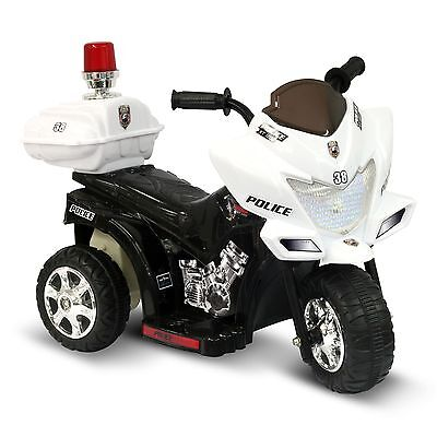 6V Black & White Lil Patrol Ride-on Police Motorcycle Free Shipping NEW