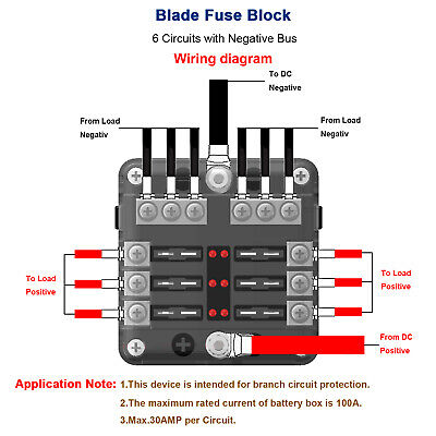 Fuse Box with Negative Bus, Blade Fuses Holder Block 6 Way with LED Indicator