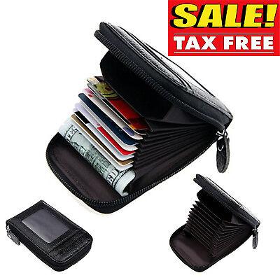 00eee8d5896 Men Wallet Credit Card Holder Genuine Leather RFID Blocking Zipper Pocket  Thin