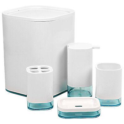 Locco Decor 4 Pieces Acrylic Modern Style Bathroom Vanity Accessory Set-White  ()
