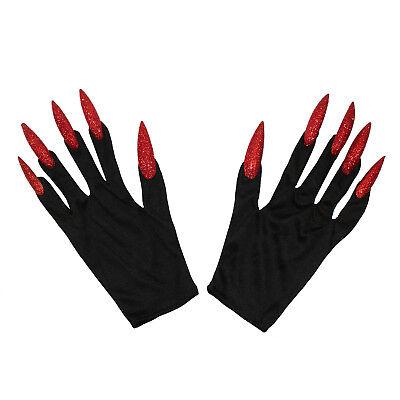 Hexen Handschuhe mit langen Fingernägeln Halloween Fasching Karneval Accessoire