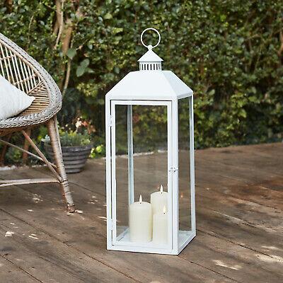 Outdoor Large White Metal Floor Lantern 60cm TruGlow™ Candles Timer Lights4fun