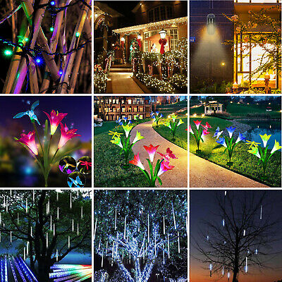 Solar Power Flower Meteor Shower String Lights LED Bulb Wall Lamp Outdoor Garden (Glass Solar String Lights)