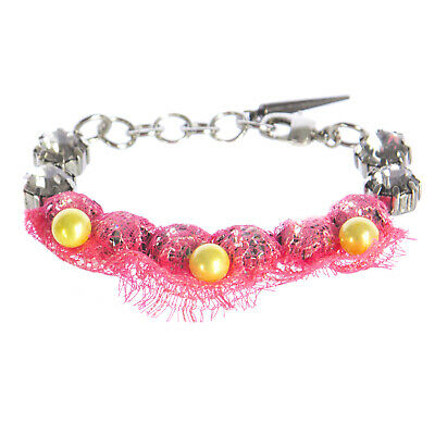 JOOMI LIM Neon Laced up Crystal Bracelet with Pearls NEW