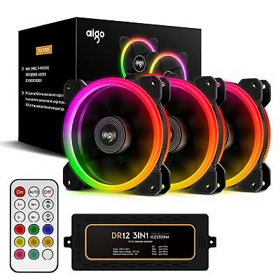 Aigo Aurora 3-IN-1 Kit 3-Pack RGB Halo Ring LED 120mm Computer Case Cooling Fan (Led Fans)