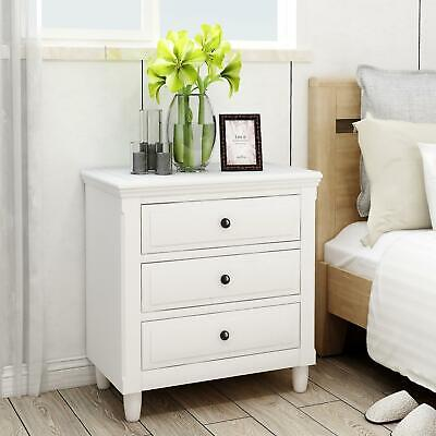 Nightstand With 3 Drawers Modern Bedroom Bedside End Table Cabinet White