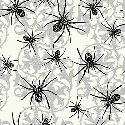 Fabric Halloween Spiders Sophisticated on White Cotton by the 1/4 yard](Sophisticated Halloween)