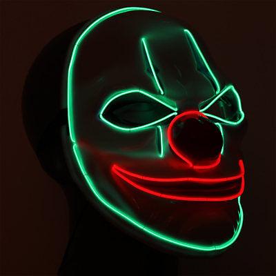 Psycho Clownsmaske killer Karneval Fasching Halloween LED Clown Kostüm Maske (Psycho Killer Clown Kostüm)