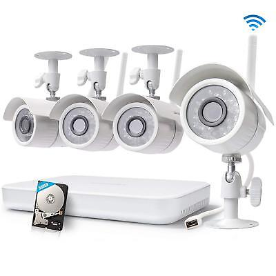Zmodo 1080p 8CH HDMI NVR 4 720p Wireless Home Video Security Camera System 500GB