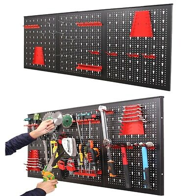 17 Piece Wall Mounted Pegboard Shelf Panel Set Tool Storage Workshop Organizer