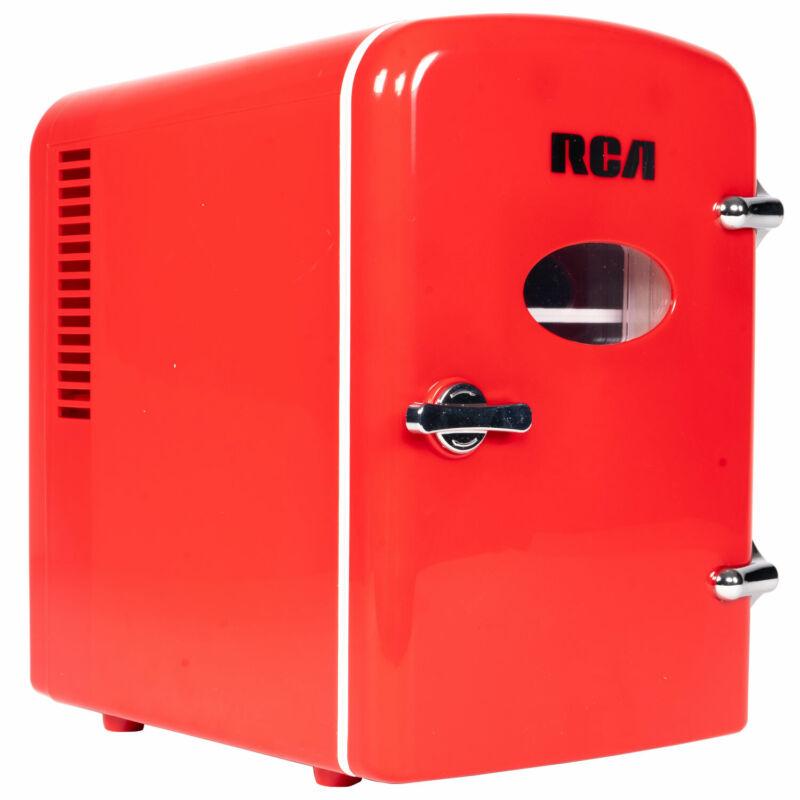 RCA Mini Retro Fridge 6 Can Beverage Compact Refrigerator and Warmer - Red