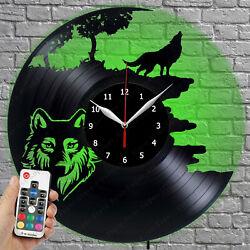 LED Clock Wolf Vinyl Record Wall Clock Led Light Wall Clock 250