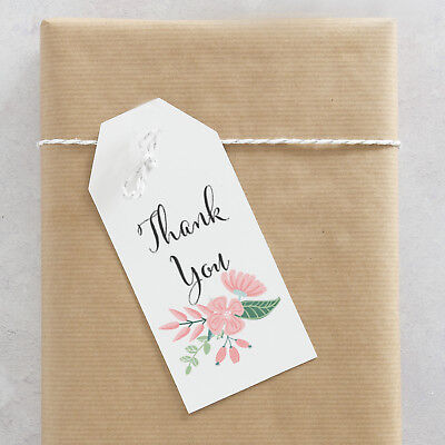 25 Personalized Thank You Mini Favor Tags, Pink Flower Wedding Favor (Wedding Mini Favor)
