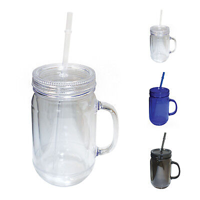 NuFazes 20 Oz Mason Jar Doubled wall Acrylic Cup with Straw](Mason Jar With Straw)