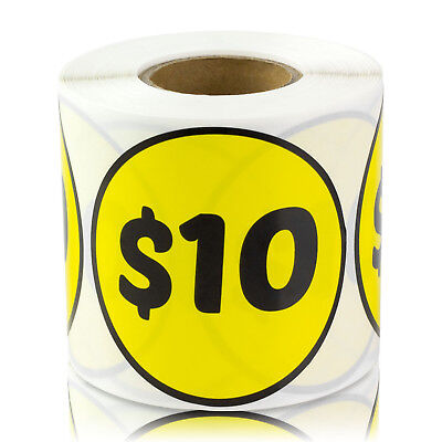 10 Dollars Stickers Store Money Garage Sale Retail Fleamarket Price Labels 1pk