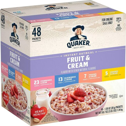 Quaker Instant Oatmeal, Fruit and Cream 4 Flavor Variety Pack,48 Count