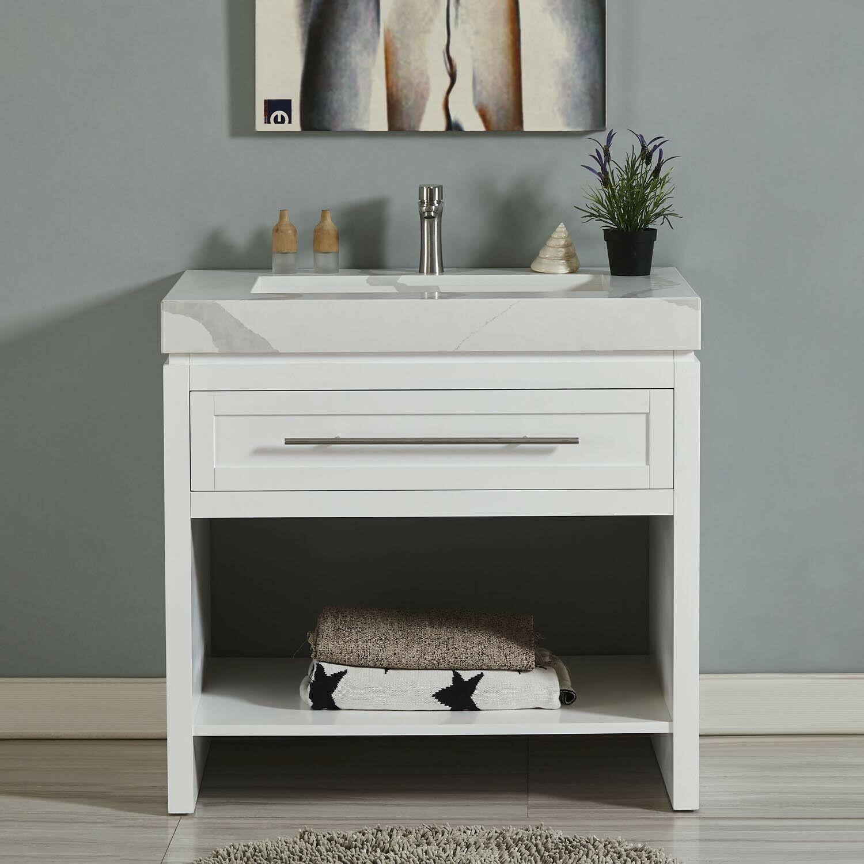 "36"" Bathroom Vanity Set - White Cabinet + Calacatta White Qu"