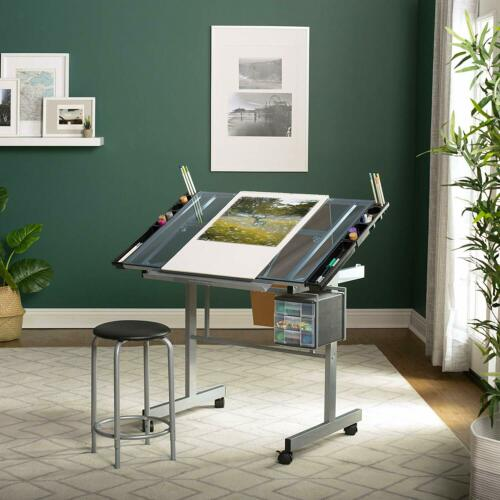 2-Piece Metal Art Desk Drafting Table Vision Drawing Mobile Adjustable Top Bench