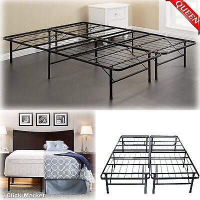 New Queen Bed Mattress (QUEEN Size Bed Frame Heavy Duty Mattress Platform Folding Foundation Steel Base )