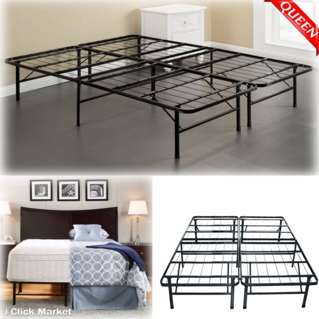 queen size bed frame heavy duty metal platform mattress folding foundation base