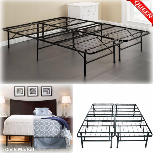 queen size bed frame heavy duty metal platform mattress folding foundation base