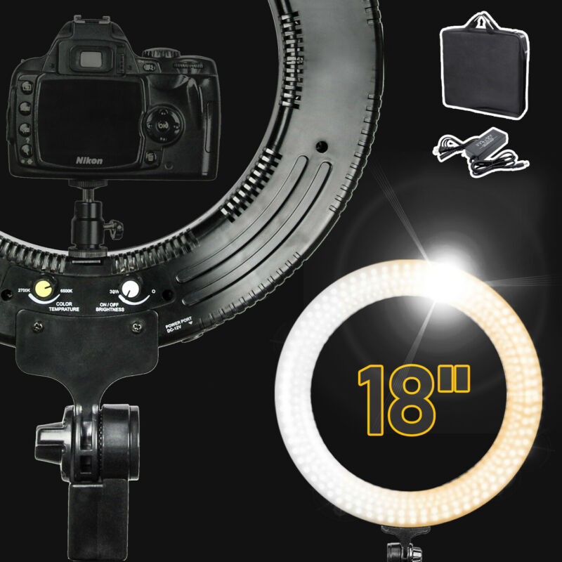 "LED Dual Color Dimmable 18"" Ring Light with Carry Bag for Photography Studio"