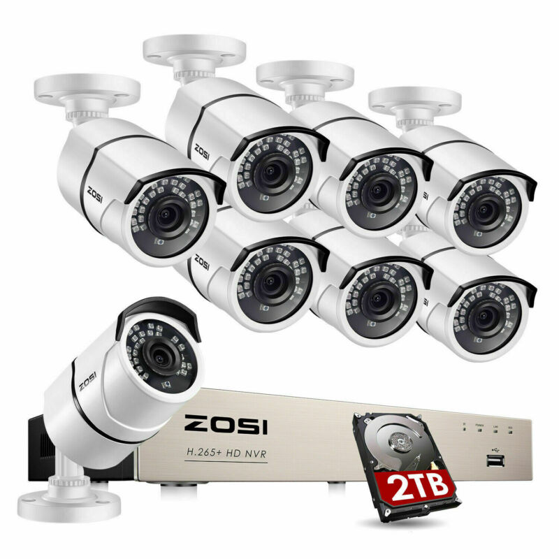 ZOSI H.265+ 8CH 5MP NVR 2TB 1080P POE Outdoor IP Network Security Camera System